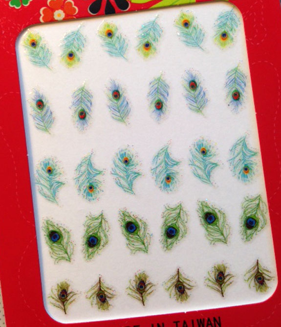 Peacock nail stickers