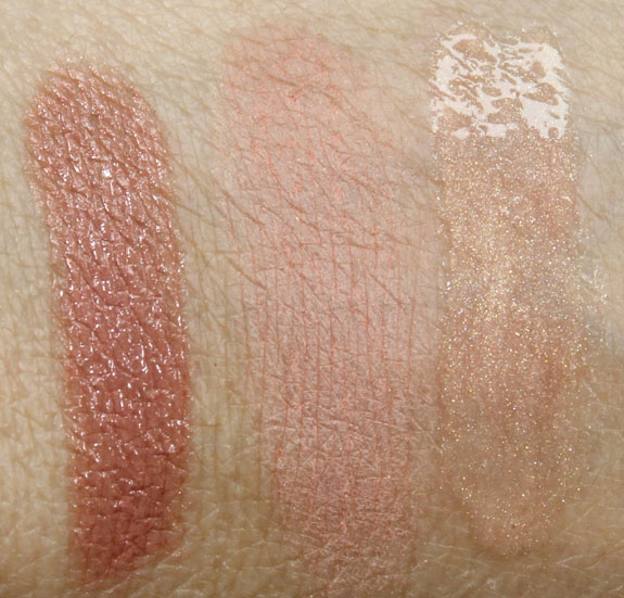 bareMinerals The Adrenaline Rush, Take Charge, Super Power Swatches
