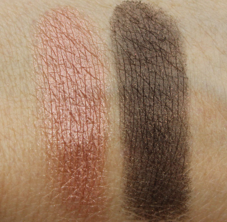 Bobbi Brown Shimmer Wash Eye Shadow in Rose Gold and Black Plum Swatches