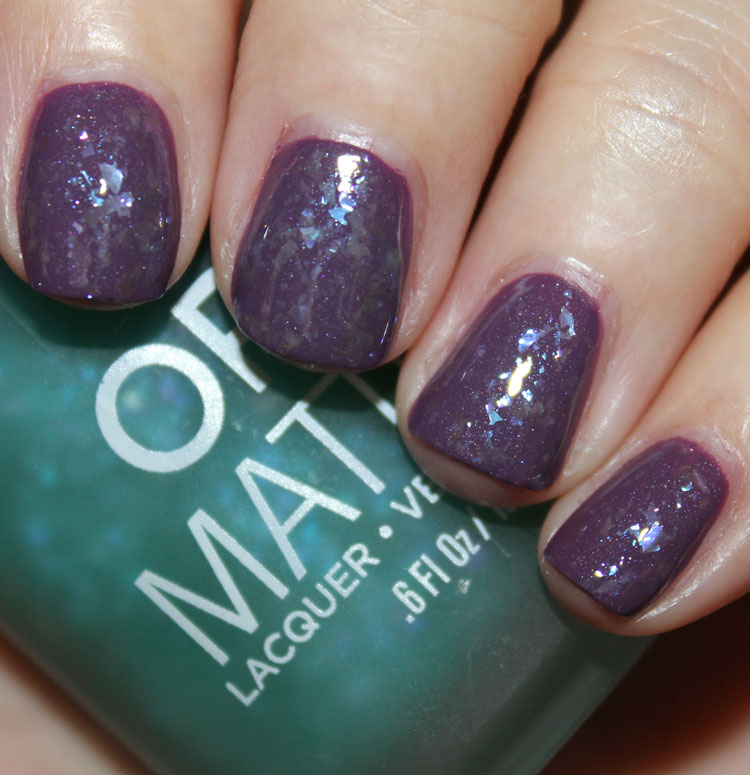 Orly Green Flakie Top Coat over Purple Velvet with Clear