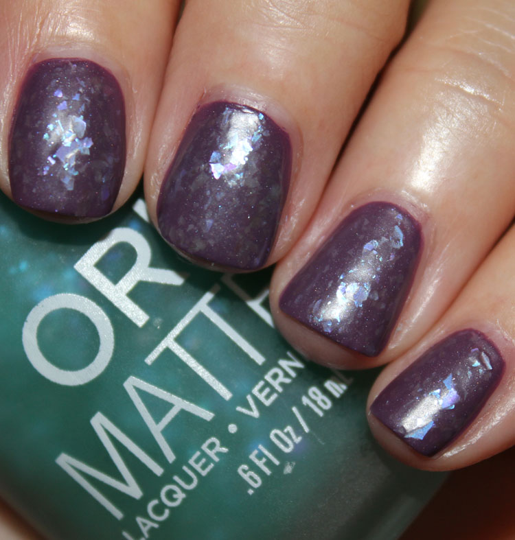 Orly Green Flakie Top Coat over Purple Velvet