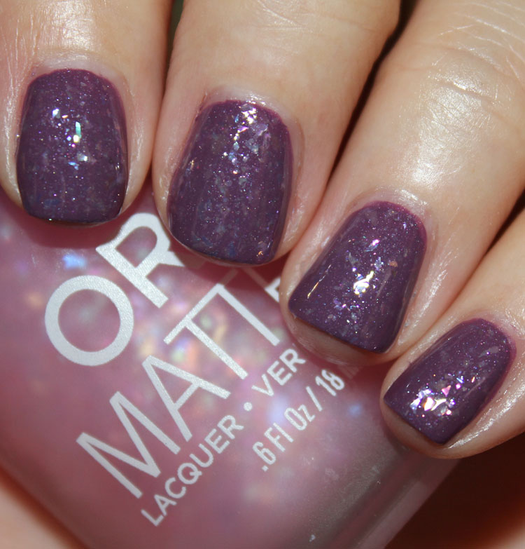 Orly Pink Flakie Top Coat over Purple Velvet with Clear