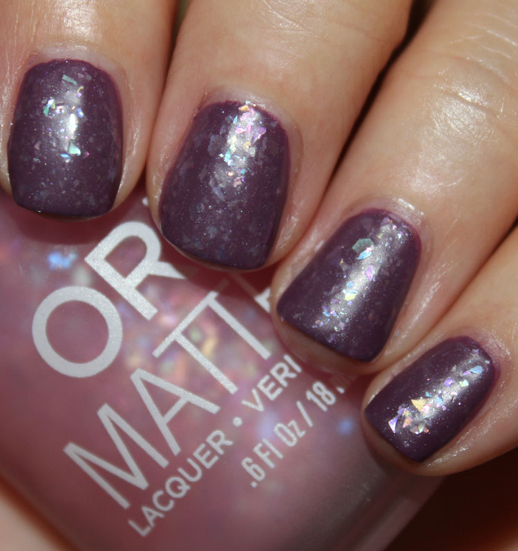 Orly Pink Flakie Top Coat over Purple Velvet