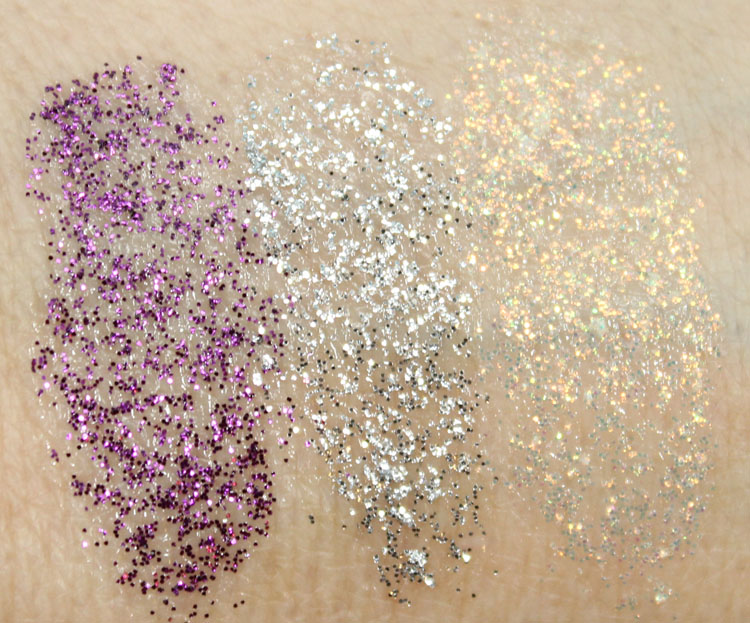 Wet n Wild Color Icon Eyeshadow Glitter Single Swatches in Binge, Spiked, Bleached