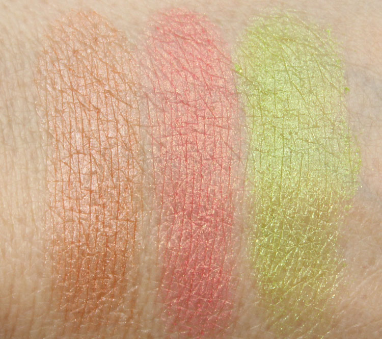 MAC Stereo Rose, Petal Power, Chartreuse Bouquet Swatches