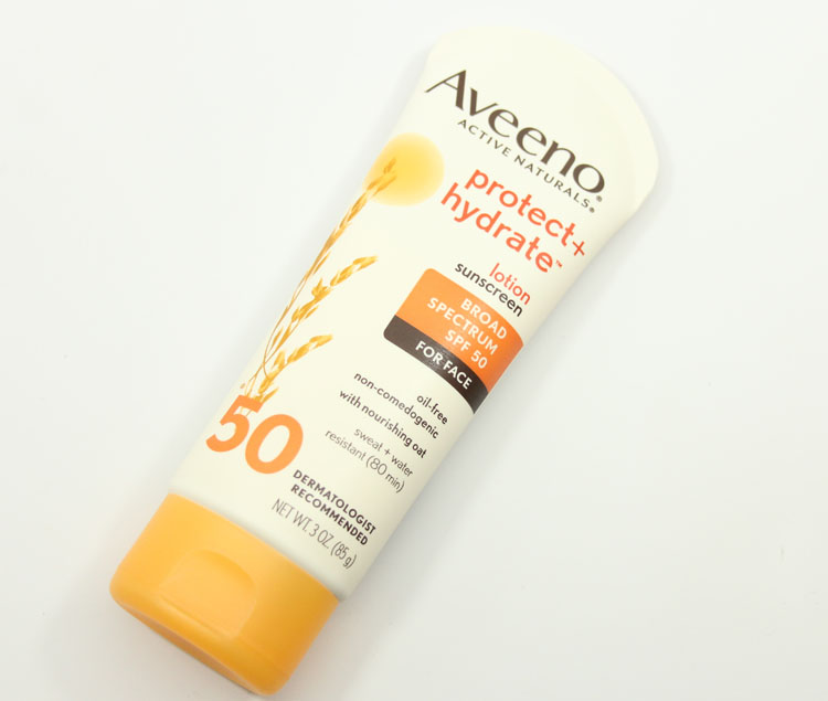 Aveeno Protect + Hydrate Lotion Sunscreen Broad Spectrum SPF 50 for Face | Vampy Varnish