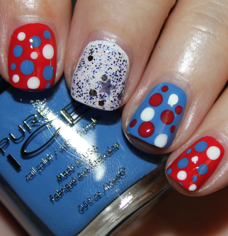 Fourth of July Nail Art Dots with Pure Ice Matte with Top Coat