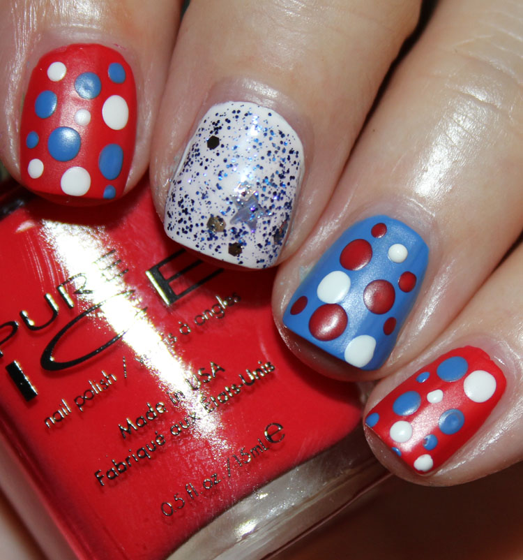 Fourth of July Nail Art Dots with Pure Ice Matte