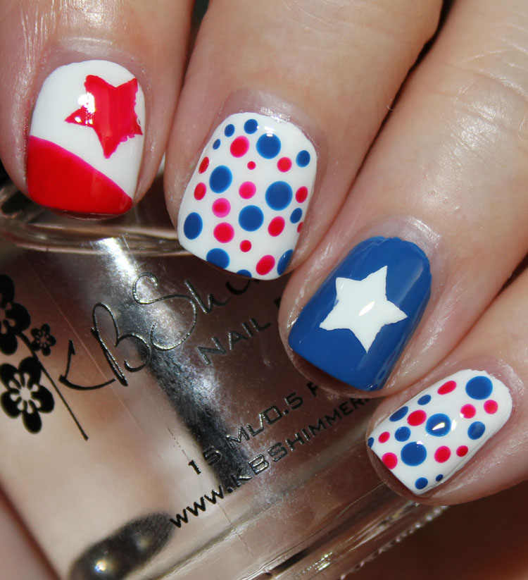 Fourth of July Nail Art Stars and Dots