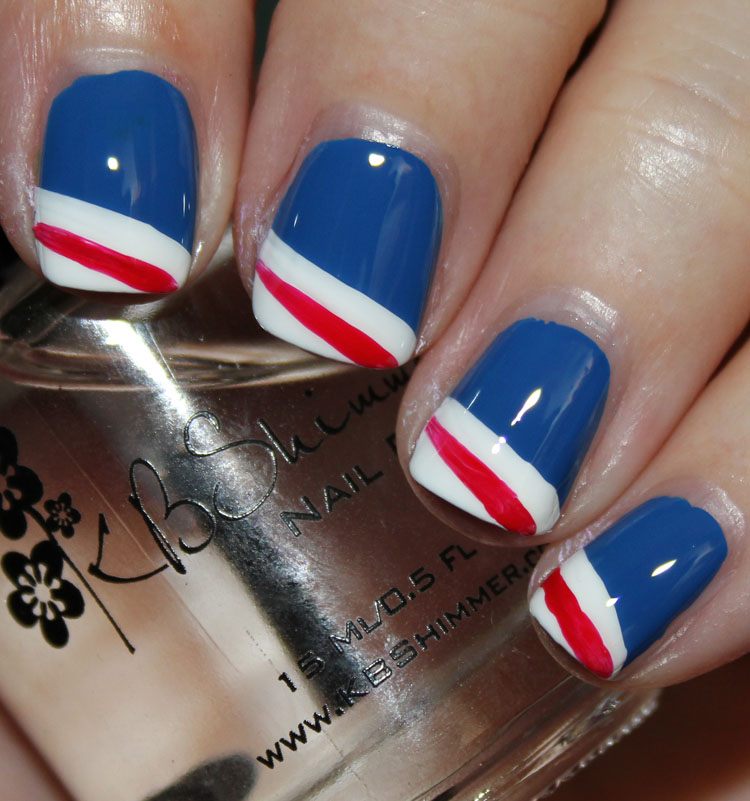 Fourth of July Nail Art Stripes