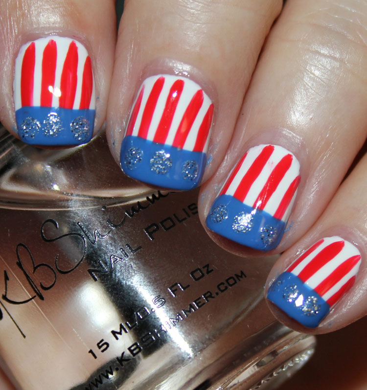 Fourth of July Nail Art Strips and Silver Dots