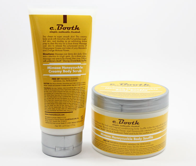 c. Booth Momosa Honeysuckle Body Souffle and Creamy Body Scrub
