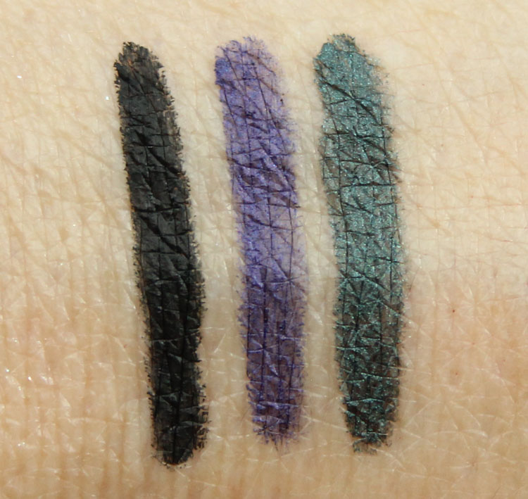 MAC Black Brilliance, Evil Twin, Water Willow Swatches