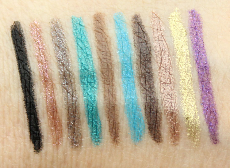 Urban Decay Ten 24-7 Glide-On Eye Pencil Set Swatches