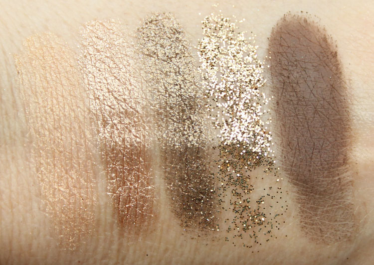 MAC Objects Of Affection Gold and Beige Pigments and Glitter Swatches