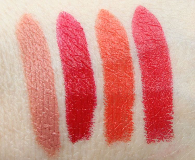 MAC Oxblood, Opera, Barbeque, Tenor Voice Lipstick Swatches