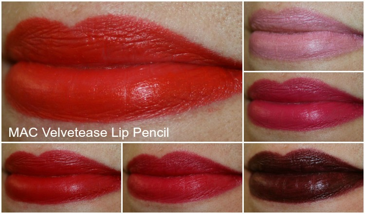 MAC Velvetease Lip Pencil Swatches