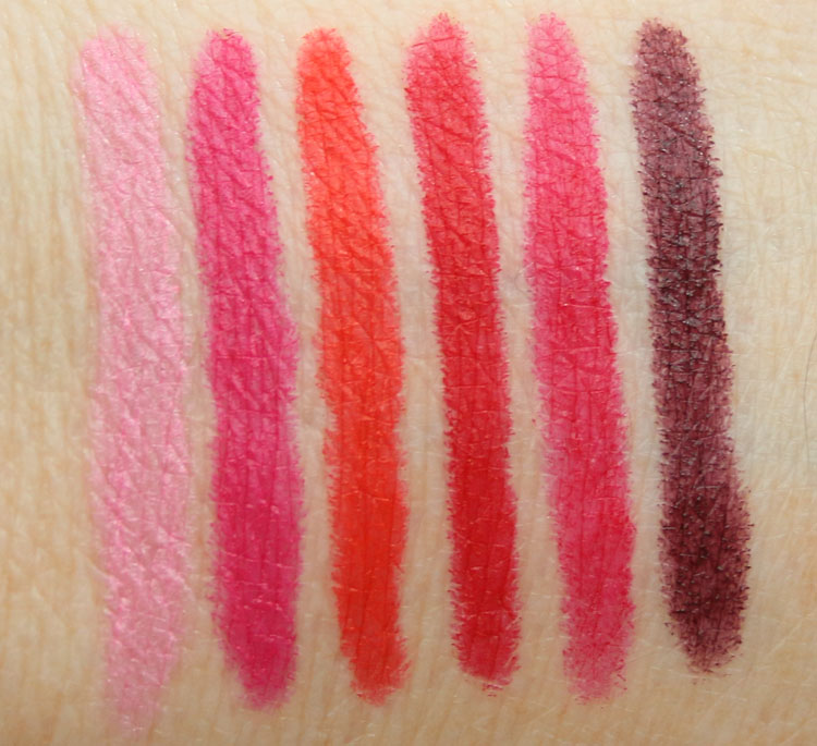 MAC Velvetease Lip Pencil Winter 2015 Swatches