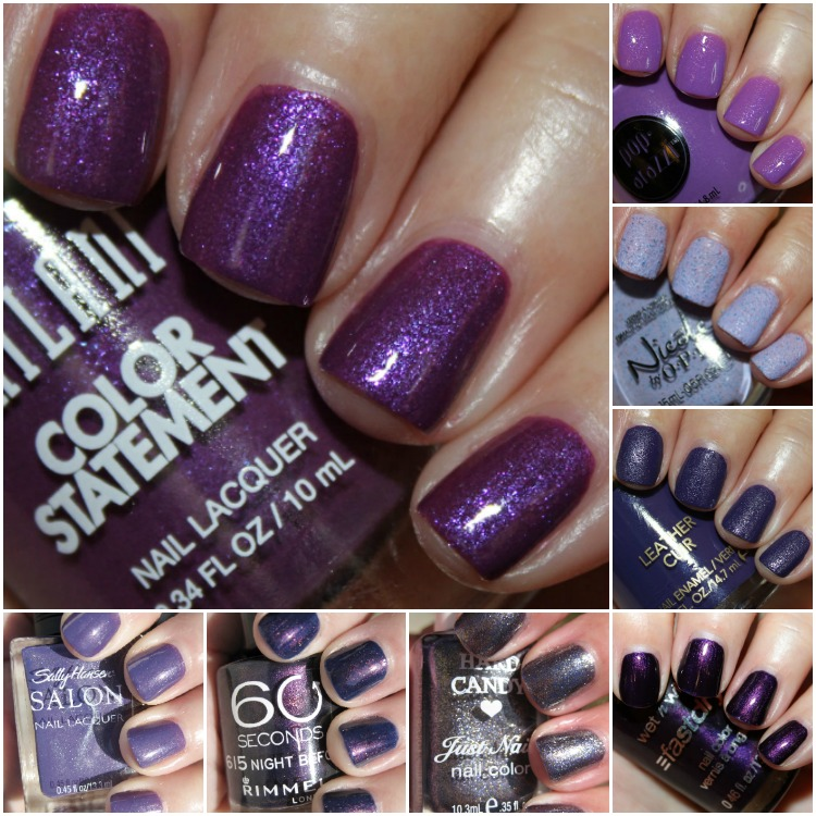 Drugstore Purple Nail Polish Collage