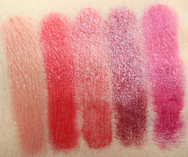 Too Faced La Creme Color Drenched Lipstick Sugar Daddy, 90210hhh, WHAM!, Ursula, Berry Naughty
