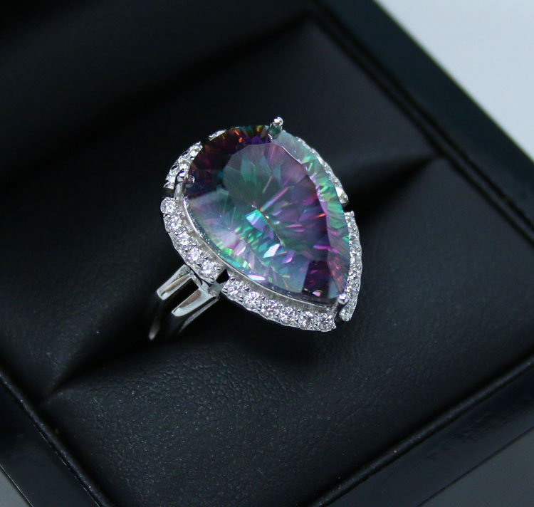 Blue Topaz Cocktail Ring In Sterling Silver