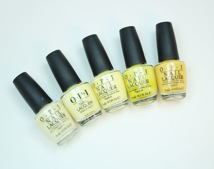 My Favorite Yellow OPI Nail Lacquer Colors